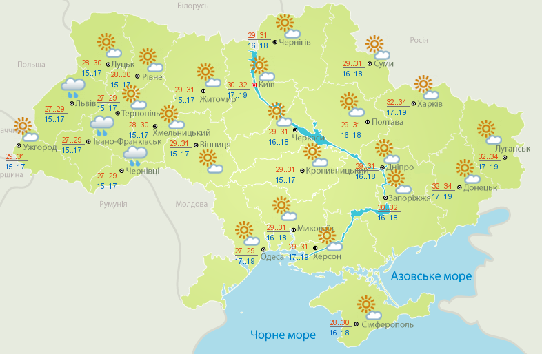 Жара усиливается: прогноз погоды для Украины — фото 1