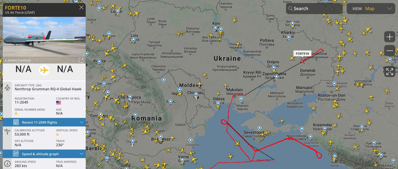 Самолеты НАТО провели авиаразведку оккупированных украинских территорий и акватори Черного моря — фото 3