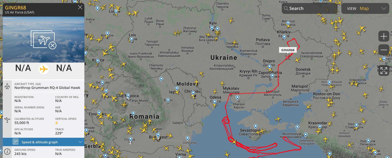 Самолеты НАТО провели авиаразведку оккупированных украинских территорий и акватори Черного моря — фото 2