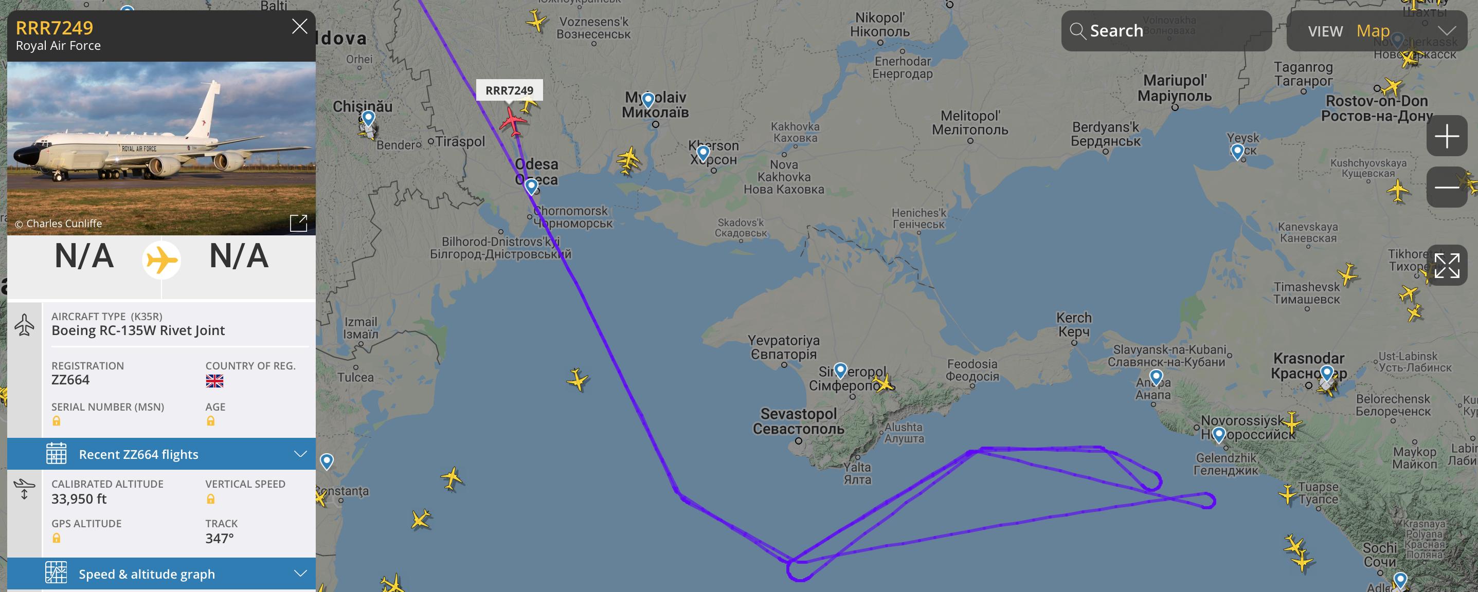 Самолеты НАТО провели авиаразведку оккупированных украинских территорий и акватори Черного моря — фото 1