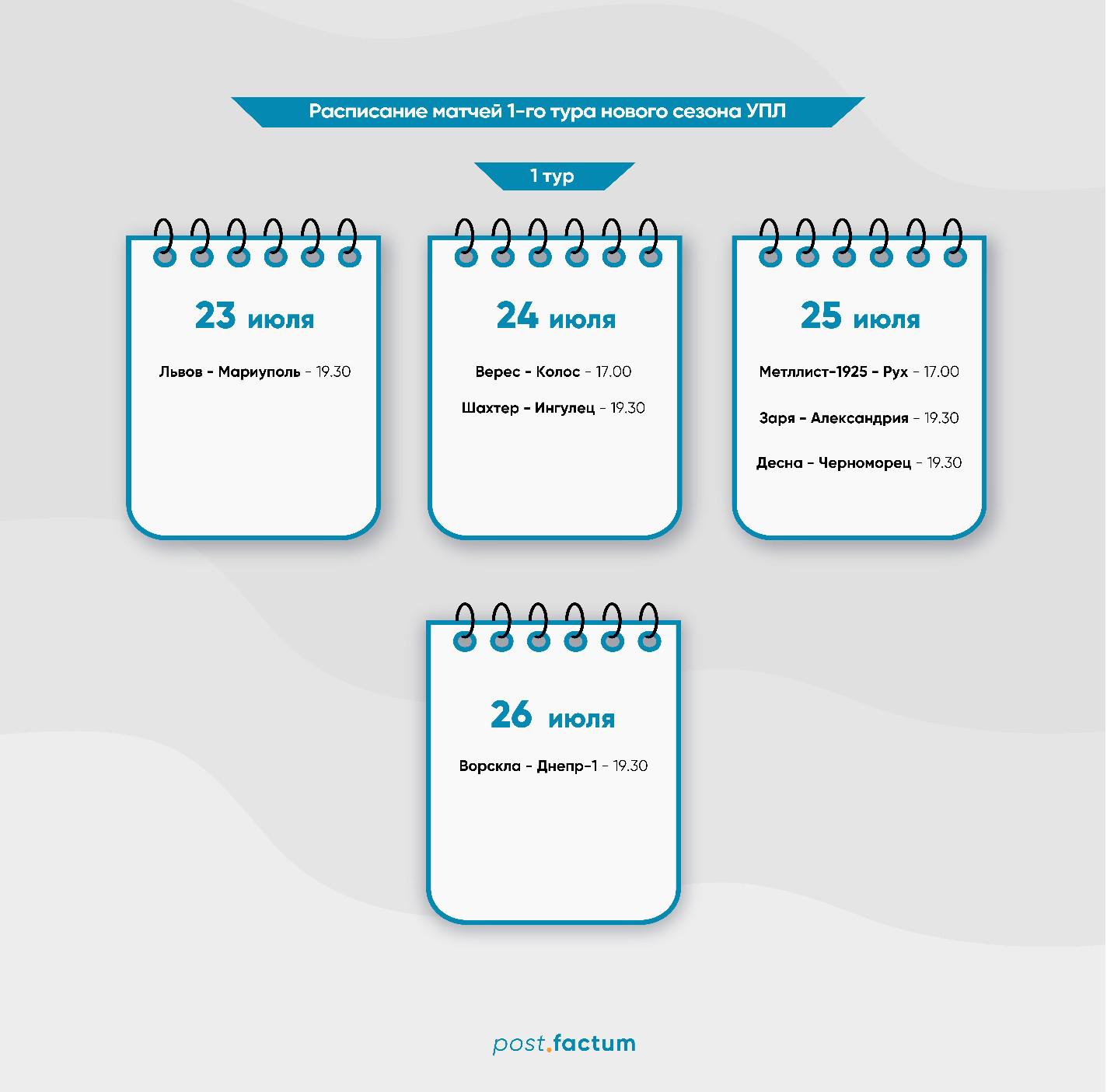 Инфографика: расписание матчей первого тура УПЛ — фото 1